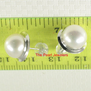 14k White Solid Gold Encircle; Genuine 9 mm White Cultured Pearl Stud Earrings
