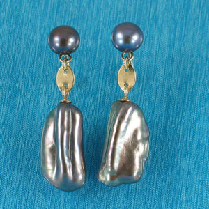 14k Yellow Solid Gold; Well Matched Black Biwa Pearl Dangle Earrings
