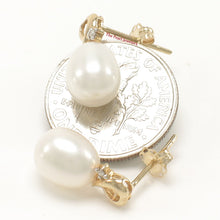 Load image into Gallery viewer, 14k Yellow Gold Sets 2 Diamonds; White Cultured Pearls Stud Earrings