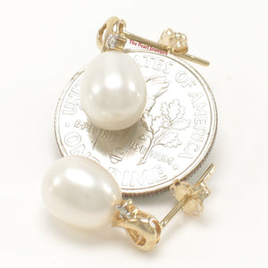 14k Yellow Gold Sets 2 Diamonds; White Cultured Pearls Stud Earrings
