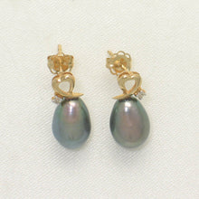 Load image into Gallery viewer, 1000471-14k-Gold-Diamonds-Black-Cultured-Pearls-Stud-Earrings