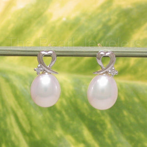 14k White Gold Sets 2 Sparkling Diamonds on White Cultured Pearls Stud Earrings