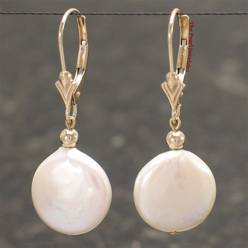 14k Yellow Solid Gold Leverback White Coin Cultured Pearl Dangle Earrings