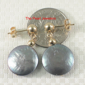 14k Yellow Gold 3mm Ball; Blue Genuine Coin Cultured Pearl Dangle Earrings