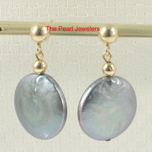 Load image into Gallery viewer, 14k Yellow Gold 3mm Ball; Blue Genuine Coin Cultured Pearl Dangle Earrings