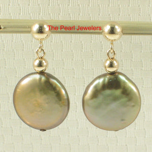 14k Yellow Solid Gold Lever Back Pistachio Coin Cultured Pearl Dangle Earring