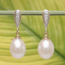 Load image into Gallery viewer, 1000560-14k-Yellow-Gold-Diamonds-White-Cultured-Pearl-Dangle-Stud-Earrings