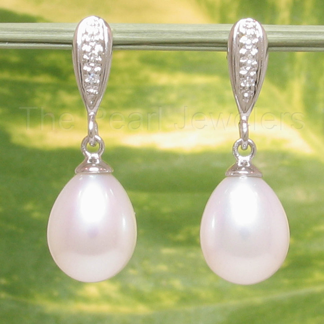14k White Gold Set 6 Sparkling Diamonds White Cultured Pearl Dangle Earrings.