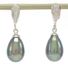 Load image into Gallery viewer, 1000566-14k-White-Gold-Sparkling-Diamonds-Black-Cultured-Pearl-Dangle-Earrings