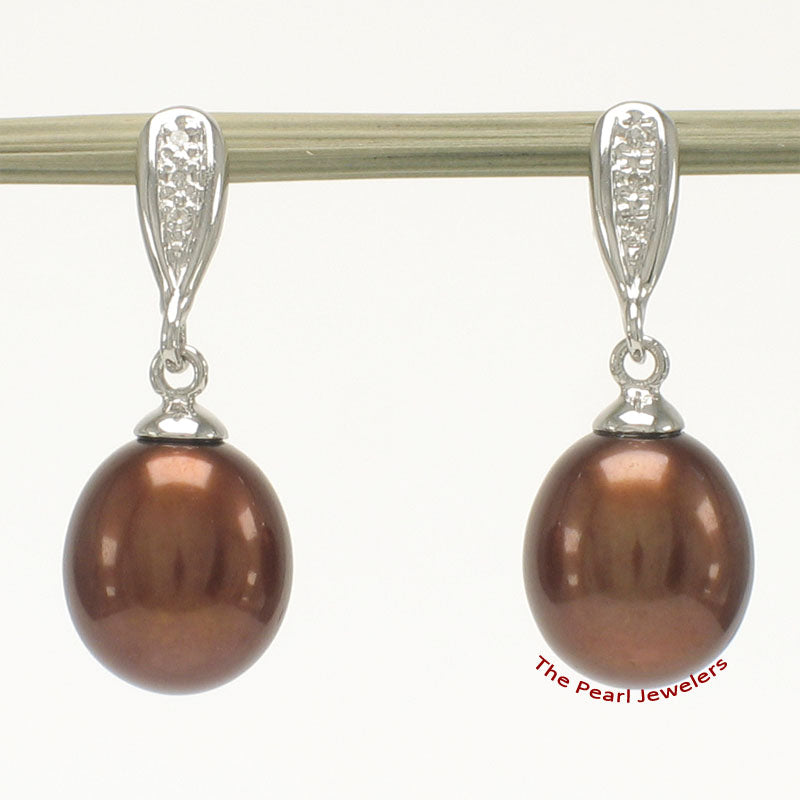 14k White Gold Set 6 Sparkling Diamonds Chocolate Cultured Pearl Dangle Earrings.