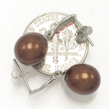 Load image into Gallery viewer, 14k White Gold Set 6 Sparkling Diamonds Chocolate Cultured Pearl Dangle Earrings.