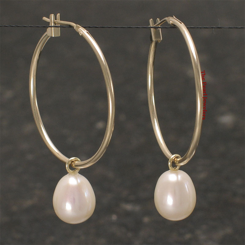 14k Yellow Gold 25 X1.25mm Hoop; AAA F/W White Cultured Pearl Dangle Earrings