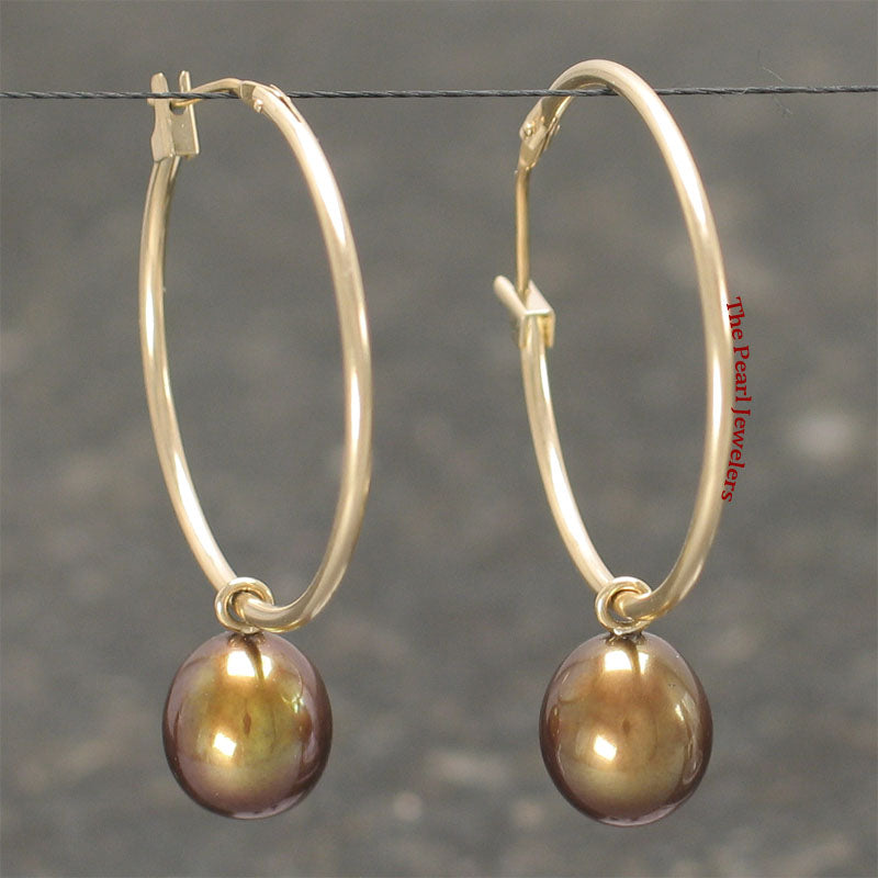 14k Yellow Gold 25 X1.25mm Hoop; AAA 7-8mm Chocolate Cultured Pearl Earrings