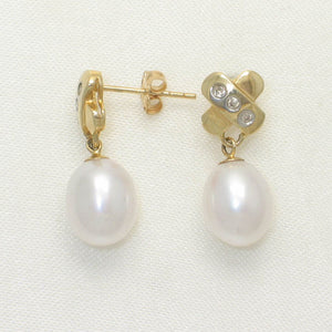 14k Yellow Gold X Design Diamonds & White Cultured Pearl Dangle Stud Earrings