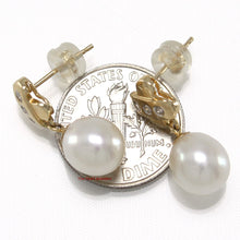 Load image into Gallery viewer, 14k Yellow Gold X Design Diamonds & White Cultured Pearl Dangle Stud Earrings