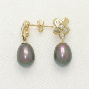 14k Yellow Gold X Design Diamonds & Black Cultured Pearl Dangle Stud Earrings