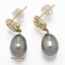 Load image into Gallery viewer, 14k Yellow Gold X Design Diamonds & Black Cultured Pearl Dangle Stud Earrings
