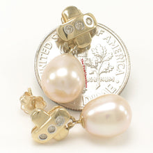 Load image into Gallery viewer, 14k Yellow Gold X Design; 6 Diamonds & Pink Cultured Pearl Dangle Stud Earrings