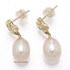 14k Yellow Gold X Design; 6 Diamonds & Pink Cultured Pearl Dangle Stud Earrings
