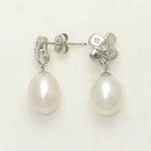 Load image into Gallery viewer, 14k White Solid Gold X Design; Diamonds & Genuine White Pearl Stud Earrings