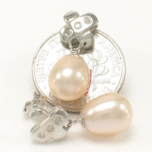 Load image into Gallery viewer, 14k White Solid Gold X Design 6 Diamonds & Peach Culture Pearl Stud Earrings