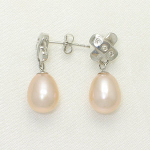 14k White Solid Gold X Design 6 Diamonds & Peach Culture Pearl Stud Earrings