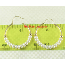 Load image into Gallery viewer, 14k Yellow Gold 25 X1.25 mm Hoop; 3-4mm White Cultured Pearl Earrings