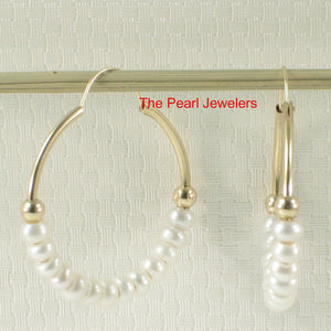 14k Yellow Gold 25 X1.25 mm Hoop; 3-4mm White Cultured Pearl Earrings
