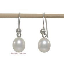 Load image into Gallery viewer, 1000635-White-Cultured-Pearl-Dangle-Earrings-14k-White-Gold-Fish-Hook-Gold-Ball
