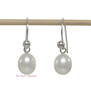 1000635-White-Cultured-Pearl-Dangle-Earrings-14k-White-Gold-Fish-Hook-Gold-Ball