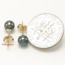 Load image into Gallery viewer, AAA 5-5.5mm High Luster Black Cultured Pearl Stud Earrings 14k Yellow Gold