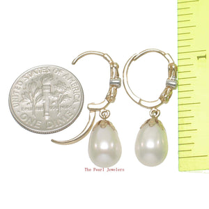14k Yellow Solid Gold & Diamonds White Cultured Pearls Dangle Earrings