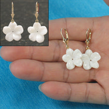 Load image into Gallery viewer, 1000710-14k-Yellow-Gold-Leverback-Mother-of-Pearl-Plumeria-Earrings