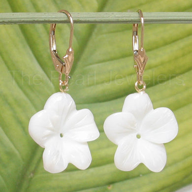 14k Yellow Gold Leverback 17 mm Plumeria, Mother of Pearl: Earrings