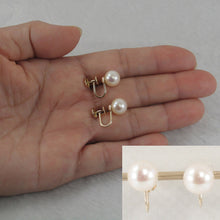 Load image into Gallery viewer, 1000720-14k Yellow Gold French Screw Back None Pierced White Cultured Pearl Earrings