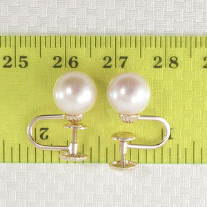 1000720-14k Yellow Gold French Screw Back None Pierced White Cultured Pearl Earrings