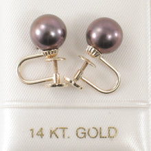Load image into Gallery viewer, 14k Yellow Gold Eggplant Cultured Pearl Non Pierced French Screw Back Earrings