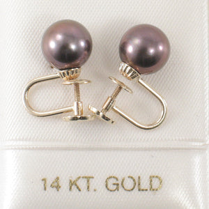 14k Yellow Gold Eggplant Cultured Pearl Non Pierced French Screw Back Earrings
