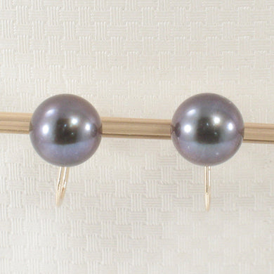 1000725-14k Yellow Solid Gold Black Cultured Pearl Non Pierced French Screw Back Earrings