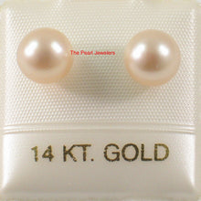 Load image into Gallery viewer, AAA 6.5-7mm Peach High Luster Cultured Pearl Stud Earrings 14k Yellow Gold
