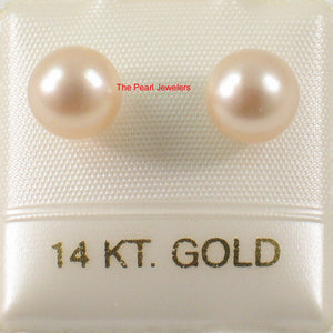 AAA 6.5-7mm Peach High Luster Cultured Pearl Stud Earrings 14k Yellow Gold