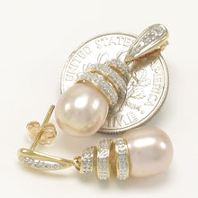 Load image into Gallery viewer, 14k Yellow Solid Gold 6 Sparkling Diamonds; Pink Pearl Dangle Stud Earrings