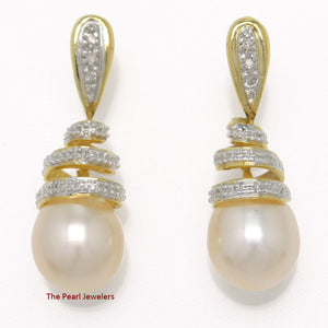 14k Yellow Solid Gold 6 Sparkling Diamonds; Pink Pearl Dangle Stud Earrings