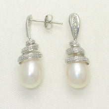 Load image into Gallery viewer, 14k White Solid Gold Sets 6 Sparkling Diamonds; White Pearl Dangle Stud Earrings