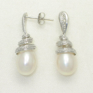14k White Solid Gold Sets 6 Sparkling Diamonds; White Pearl Dangle Stud Earrings