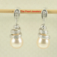 Load image into Gallery viewer, 14k White Gold Sets 6 Sparkling Diamonds; Peach Pearl Dangle Stud Earrings