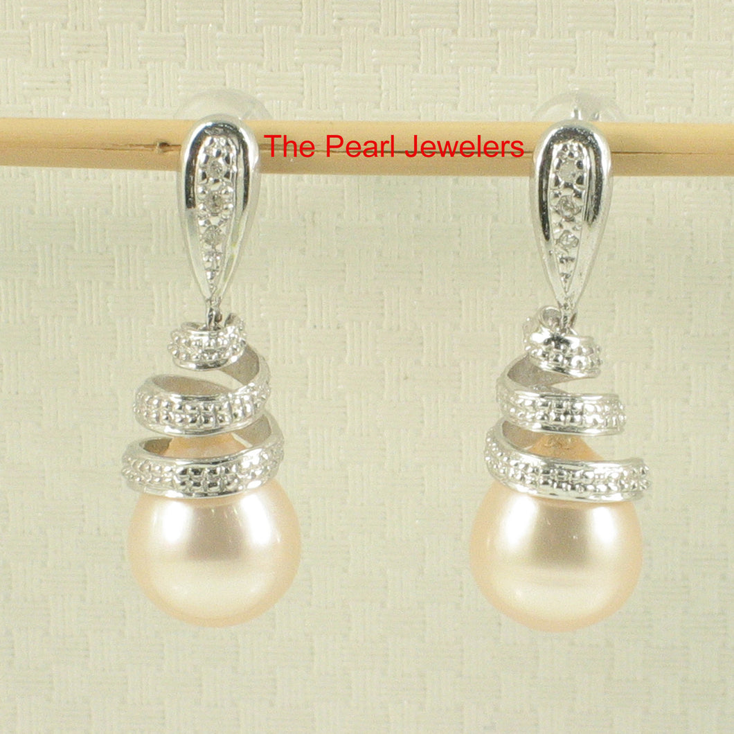 14k White Gold Sets 6 Sparkling Diamonds; Peach Pearl Dangle Stud Earrings
