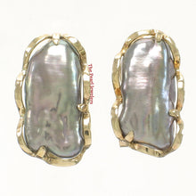 Load image into Gallery viewer, 14k Yellow Solid Gold Omega Clip; Genuine 8x16mm Black Biwa Pearl Earrings