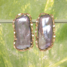 Load image into Gallery viewer, 14k Yellow Solid Gold Omega Clip; Genuine 9x19mm Black Biwa Pearl Earrings