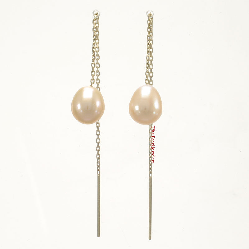 14k Yellow Gold Threader Chain; Peach Raindrop Cultured Pearl Drop Earrings